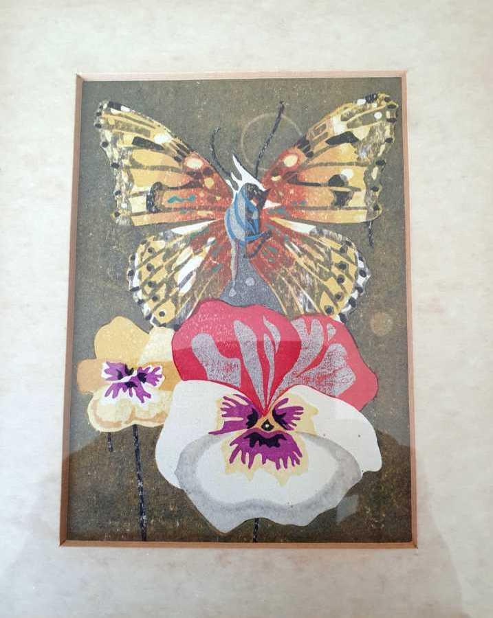 Tadishi Nakayama - Japanese woodblock artist specialising in horses (see main body of butterfly)